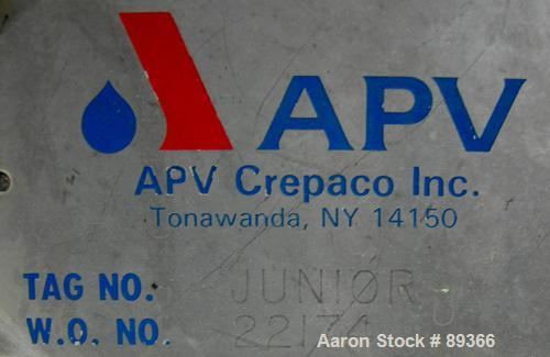 """USED: APV plate heat exchanger, model Junior, 316 stainless steel. Approximate 25 square feet. 93 approximate 2-3/4"""" wide x ..."""