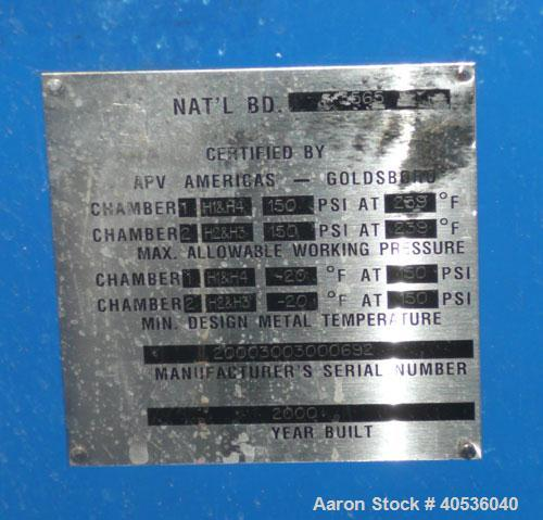 Used-APV plate and frame heat exchanger, model SR6AA MGS-10, serial 2000300300693, drawing 0000693.001. 150 psi, max/min tem...