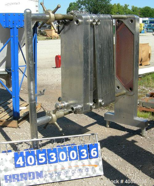 "Used- Cherry Burrell Plate Heat Exchanger, Model SLAS-100. Approximately 250 square feet, 304 stainless steel. (94) 13 1/2"" ..."