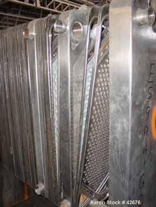 """Used- Cherry Burrell Plate Heat Exchanger, Model SLAS-100, Stainless Steel. Approximately 240 square feet. (86) 13-1/2"""" wide..."""