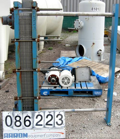 USED- Mueller Accu-Therm Plate Heat Exchanger, Model AT40 F-20, approximately 202.9 square feet, 304 stainless steel. (42) p...