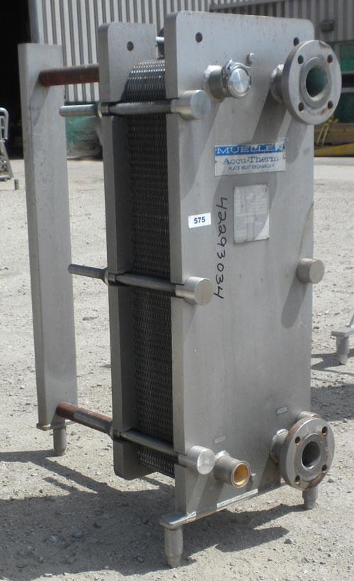 Used- Mueller Plate Heat Exchanger, 117.5 Square Feet, Model AT20-SSF-10. (44) 316 Stainless steel plates. Designed for 104 ...