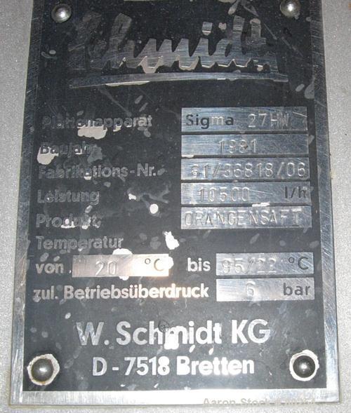 """USED: Schmidt plate heat exchanger, 764 sq ft, (240) 11"""" wide x 42""""long 316 stainless steel plates, stainless steel plate en..."""