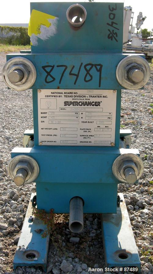 USED: Tranter Superchanger plate heat exchanger, model UX-056-UJ-26, 15.2 square feet, 304 stainless steel. (26) Approximate...