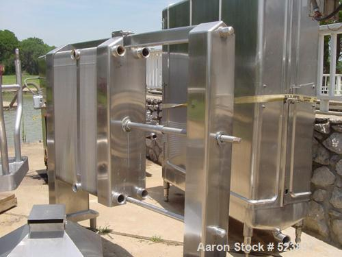 """USED: York plate heat exchanger, 2 section, 49 and 72 plates,2"""" inlet and outlet, all stainless steel."""