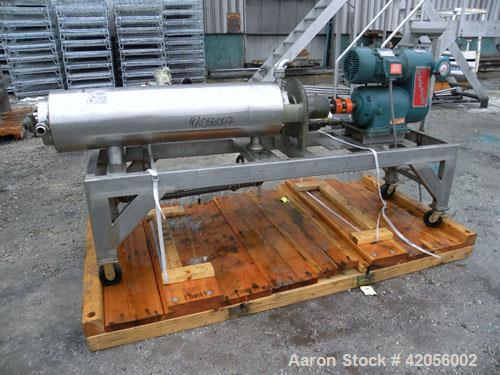 "Used- Chemetron Votator Scraped Surface Heat Exchanger, 6 square feet, 304 stainless steel. (1) Approximately 6"" diameter x ..."