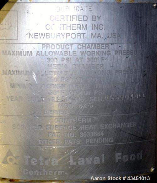 Used- Stainless Steel Alfa Laval Contherm Scraped Surface Heat Exchanger, 6 sq f