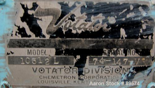 Used- Stainless Steel Chemetron Votator Scraped Surface Heat Exchanger, (.7) Squ