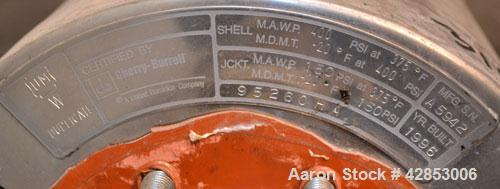 Used- Waukesha Cherry Burrell Votator Scraped Surface Heat Exchanger, 9 Square Feet, Model 6SSHE, 316 stainless steel. (1) 6...