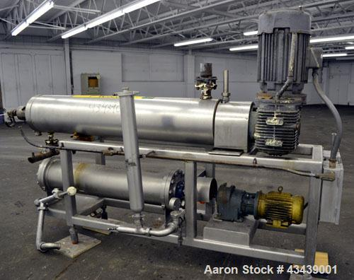 """Used- Cherry Burrell Votator Scraped Surface Heat Exchanger, 9 Square Feet, 304 Stainless Steel. (1) 6"""" Diameter x 72"""" long ..."""