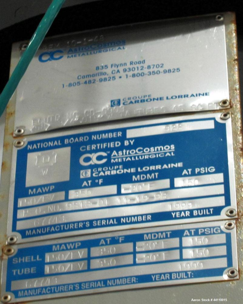Used- AstroCosmos Metallurgical Tantalum Vertical Heat Exchanger / Condenser, 45 Square Feet. Shell rated 150 psi & Full Vac...