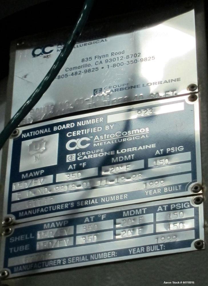 Used- AstroCosmos Metallurgical Tantalum Vertical Heat Exchanger / Condenser, 40 Square Feet