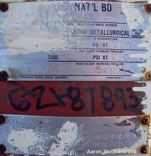 Used- Astro Metallurgical Shell And Tube Heat Exchanger, Approximately 150 Square Feet, Horizontal. Carbon steel shell rated...