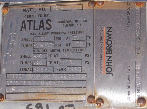 Used- Atlas Single Pass Shell and Tube Heat Exchanger, 102 square feet, horizontal, type BEM10-120. Carbon steel shell rated...
