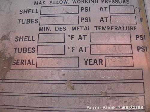 Used- Atlas Single Pass Shell and Tube Heat Exchanger, 791 square feet, horizontal, type BEM21-120. Carbon steel shell rated...