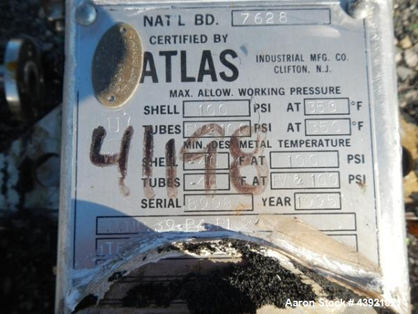 "Used- Atlas heat exchanger, 13 sq ft hastelloy C276 tubes, tube sheets and bonnets with (55) .75"" diameter x 15"" long tubes ..."