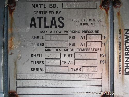 "Used- Atlas Shell & Tube Heat Exchanger, 687 Square Feet. Hastelloy C22 tubes, tube sheet and bonnets. (350) .75"" Diameter x..."