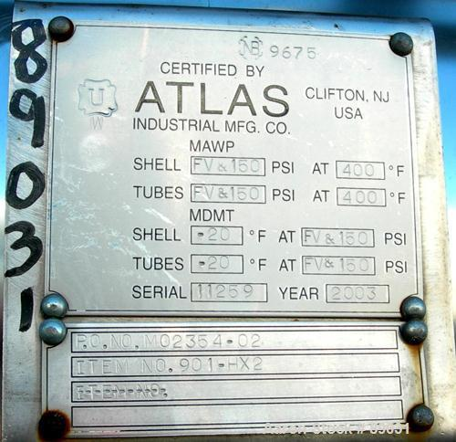 USED: Atlas four pass shell and tube heat exchanger, 561 square feet, horizontal. Hastelloy C276 shell rated FV and 150 psi ...