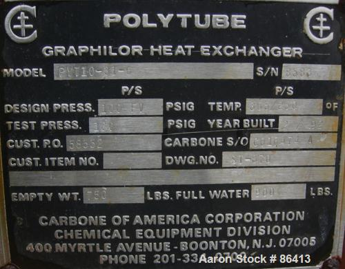 USED- Carbone Single Pass Shell and Tube Heat Exchanger, Model PYT10-31-6, 58 Square Feet, Horizontal. Carbon steel shell ra...