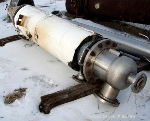 Used- Vertical Cosmos Minerals Single Pass Shell and Tube Heat Exchanger, 96 Square Feet