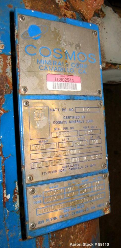 Used- Cosmos Shell And Tube Heat Exchanger, 215 Square Feet, Type BEM 20-1-60, Vertical. Carbon steel shell rated 150 psi/FV...