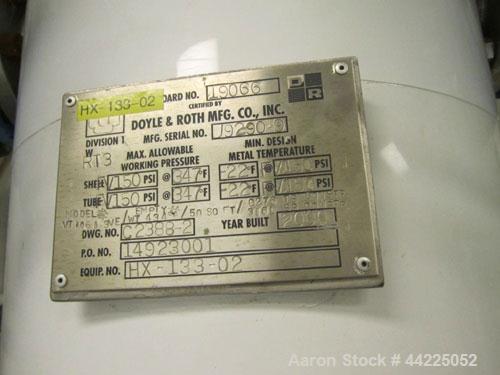 "Used- Doyle & Roth Vertical Heat Exchanger, 50 Square Feet, Model VT1061-3VE. (85) 3/4"" Diameter x 36"" long Hastelloy C276 t..."