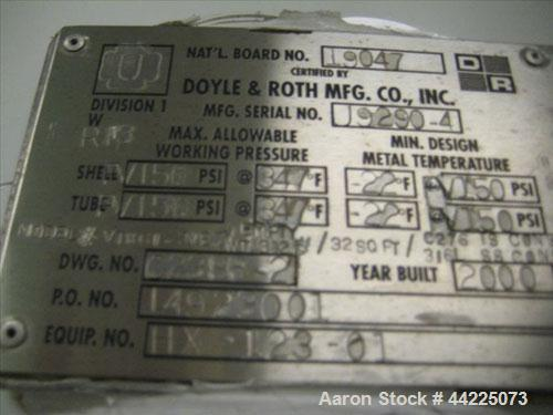 "Used- Doyle & Roth Vertical Heat Exchanger, 32 Square Feet, Model VT861-3VE. (55) 3/4"" Diameter x 36"" long Hastelloy C276 tu..."