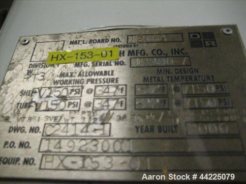 "Used- Doyle & Roth Vertical Heat Exchanger, 32 Square Feet, Model VT861-3VE. (55) 3/4"" Diameter x 36"" long Hastelloy C276 tu..."
