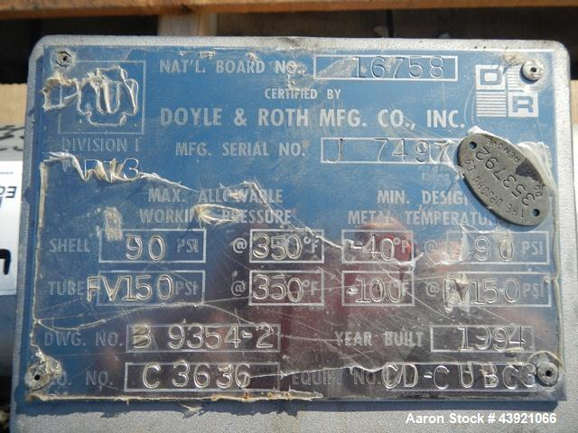 "Used- Doyle & Roth Shell & Tube Heat Exchanger, 13 Square Feet. Hastelloy C22 tubes, tube sheets and bonnet. (17) 0.75"" Diam..."