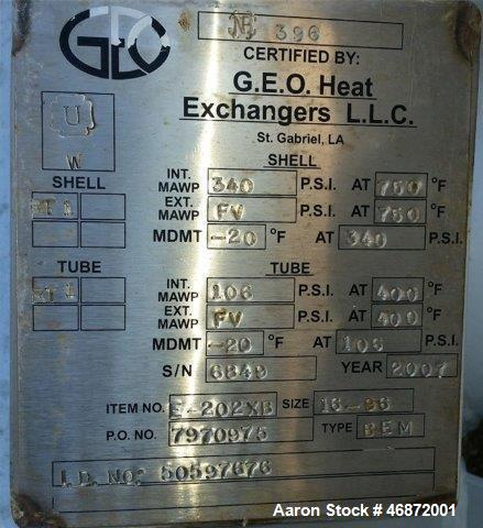 Used- G.E.O. Heat Exchangers Shell & Tube Heat Exchanger