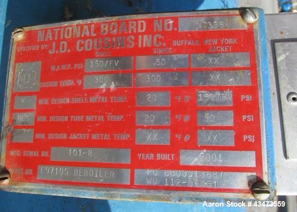 """Used- J.D. Cousins Shell & Tube Heat Exchanger, 335 Square Feet. Hastelloy C276 tubes, tube sheets and bonnets with (160) 1""""..."""