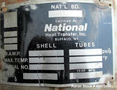 Used- National Heat Transfer Shell & Tube Heat Exchanger, 150 Square Feet. Hastelloy C276 tubes and bonnets, 316L stainless ...