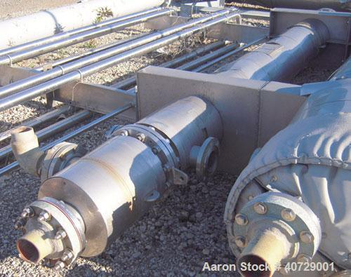 Used- RAS Process Equipment 2 pass shell and tube heat exchanger, 193 square feet, horizontal. Type BEM 10-144. 316L stainle...