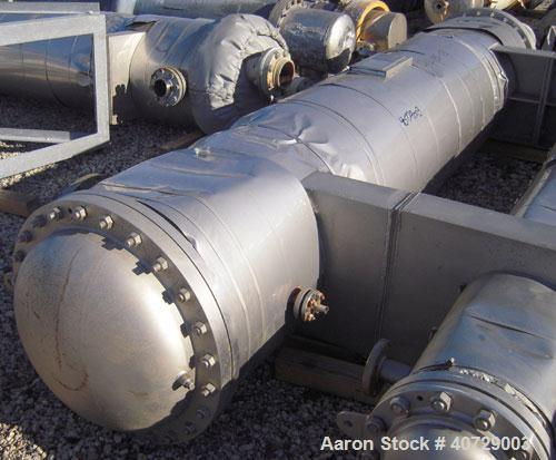 Used- RAS Process Equipment 6 Pass Shell and Tube Heat Exchanger, 608 square feet, horizontal, type BEM 23-144. 316L stainle...