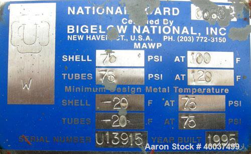 Used- Bigelow National 8 Pass U Tube Heat Exchanger, 86 Square Feet, Horizontal