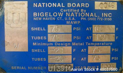 Used- Bigelow National 2 Pass U Tube Heat Exchanger, 106 square feet, horizontal. Carbon steel shell rated 75 psi at 100 deg...