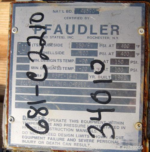 Used- Pfaudler Single Pass Shell & Tube Heat Exchanger, 15.2 square feet, horizontal. Carbon steel shell rated 100 psi at -2...