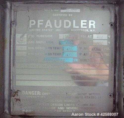 Used- Pfaudler Single Pass Shell & Tube Heat Exchanger, 15.2 square feet, vertical. Carbon steel shell rated 100 psi at -20 ...