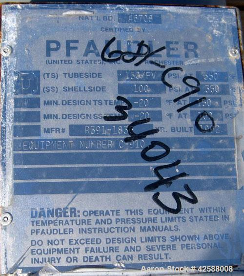 Used- Pfaudler Single Pass Shell & Tube Heat Exchanger, 23.5 square feet, horizontal. Carbon steel shell rated 100 psi at -2...