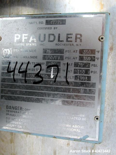 Used- Pfaudler Shell & Tube Heat Exchanger, 153 Square Feet. Hastelloy C276 tubes and bonnets, 316L stainless steel tube she...
