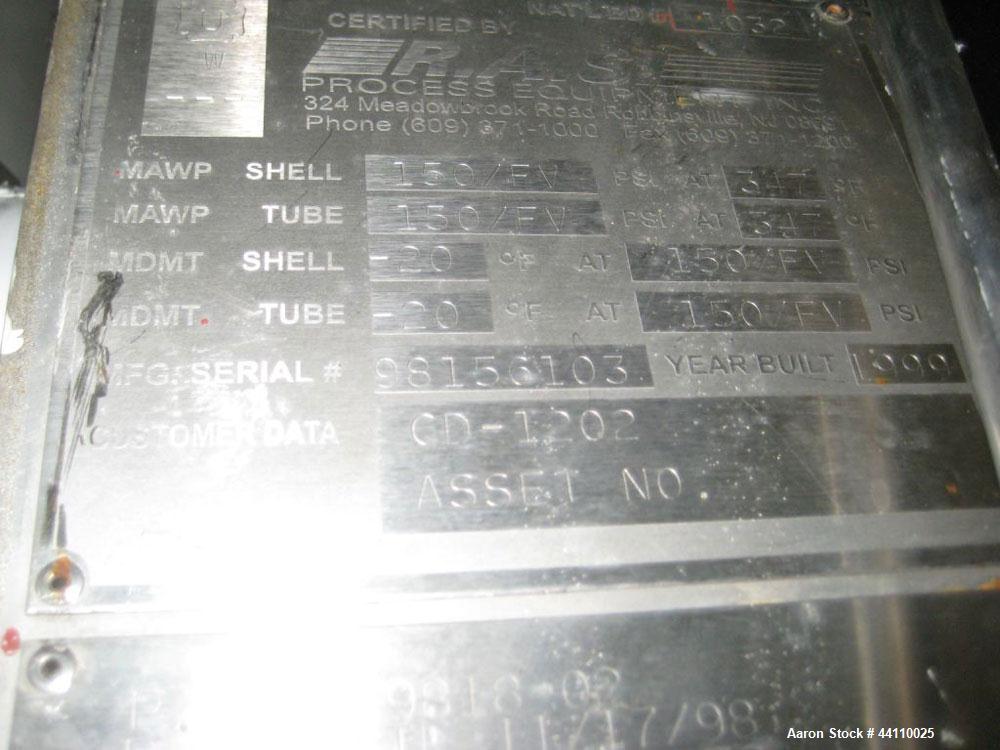 Used- RAS Process Equipment Horizontal Heat Exchanger / Condenser, 25 Square Feet. Shell (Sa-106-B) rated 150 psi & Full Vac...