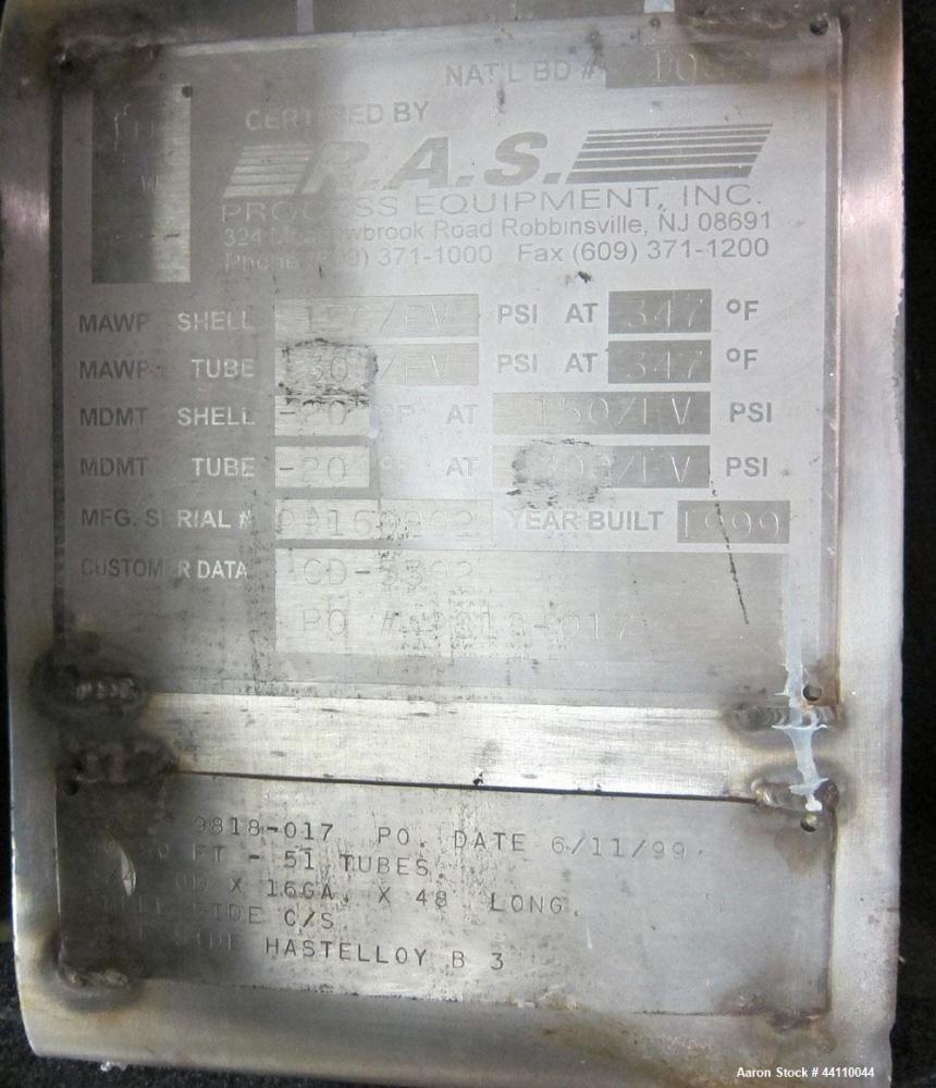 Used- RAS Process Equipment Horizontal Heat Exchanger / Condenser, 40 Square Feet. Shell (Sa-106-B) rated 150 psi & Full Vac...