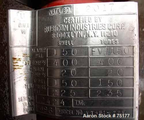 Used- Rubicon Single Pass Shell & Tube Heat Exchanger, 14 Square Feet, Model VT4B1-72V, Hastelloy C276, Vertical. Carbon ste...