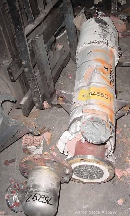 Used- Rubicon Single Pass Shell & Tube Heat Exchanger, 20 Square Feet, Model VT6B1-48V. Carbon steel shell and Hastelloy C-2...