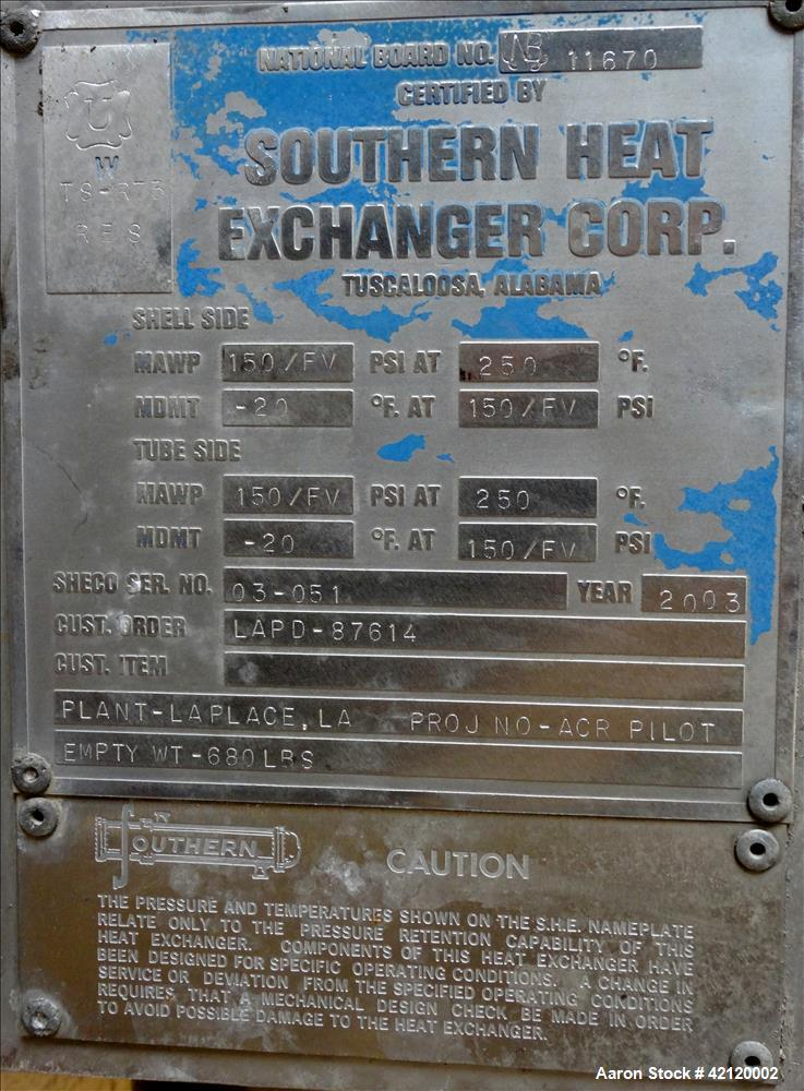 Used- Vertical Southern Heat Exchanger Corp Single Pass Shell and Tube Heat Exch