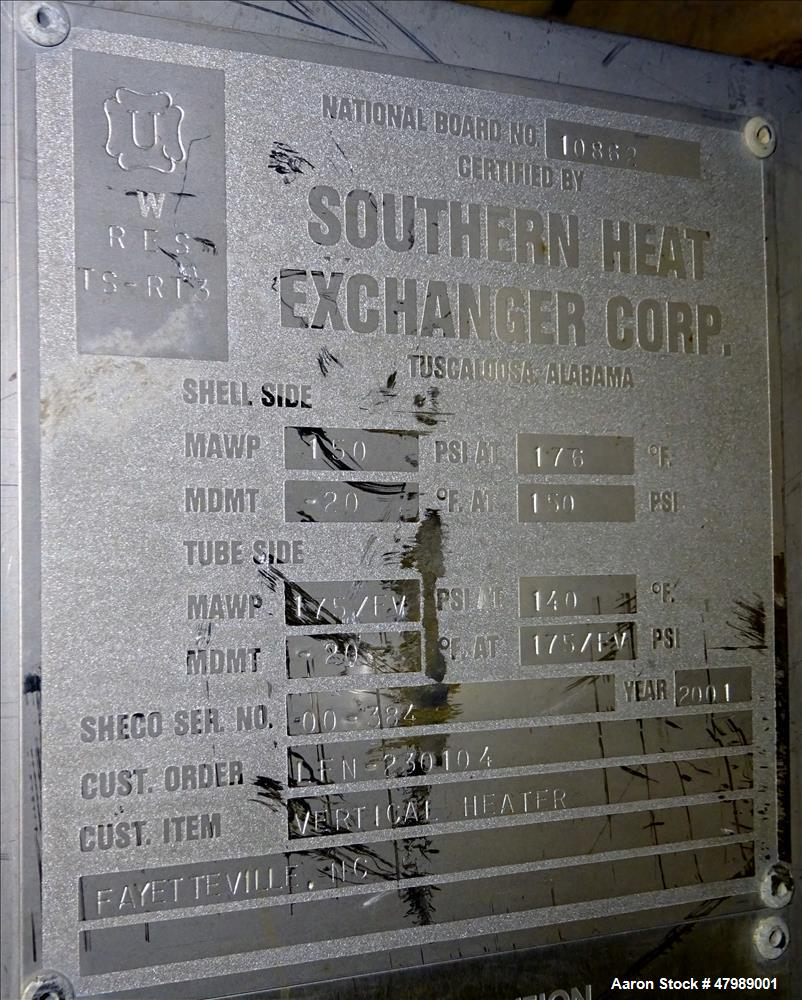 Used- Southern Heat Exchanger Corp. Shell & Tube Heat Exchanger, Approximate 41