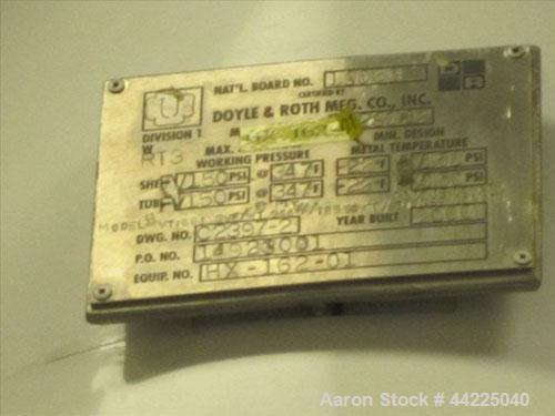 "Used- Doyle & Roth Vertical Heat Exchanger, 125 Square Feet, Model VT1661-3VE. (212) 3/4"" Diameter x 36"" long Hastelloy C276..."
