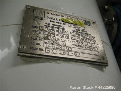"Used- Doyle & Roth Vertical Heat Exchanger, 60 Square Feet, Model VT261-3VE. (102) 3/4"" Diameter x 36"" long Hastelloy C22 tu..."