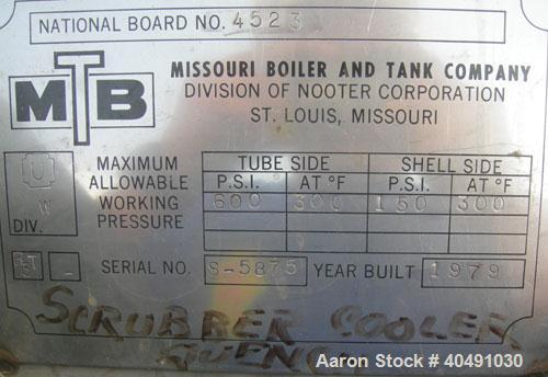"""Used- Missouri Boiler Heat Exchanger, 53 Square Feet, Carbon Steel, Horizontal. Shell rated 150 psi at 300 deg F, (34) 1/2"""" ..."""