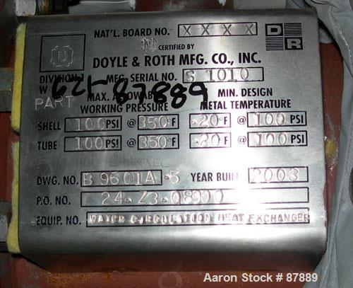 Used- Doyle and Roth U Tube Heat Exchanger, approximately 25 square feet, horizontal. Carbon steel shell rated 100 psi at 35...
